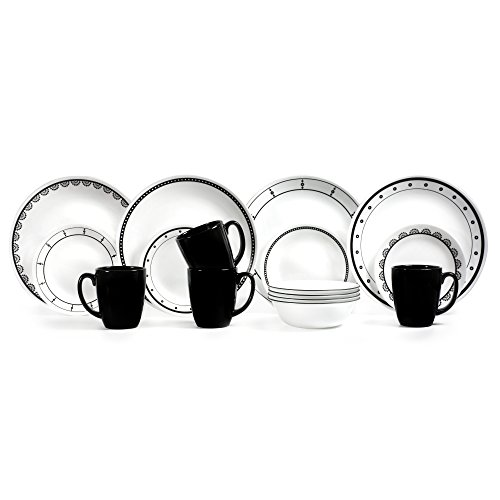 corelle black and white dishes - 6