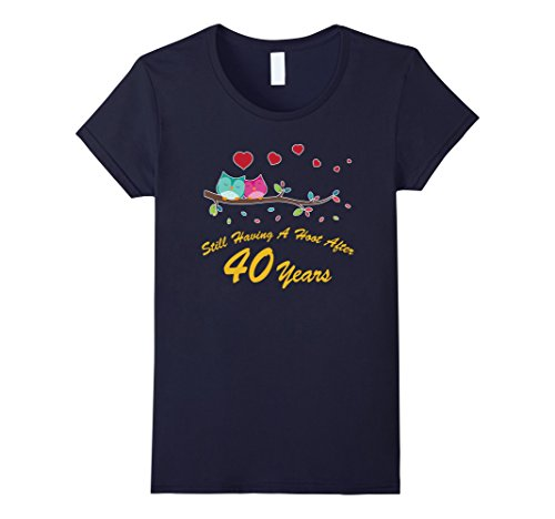 Women's 40th Wedding Anniversary Gifts Owl Shirt  XL Navy