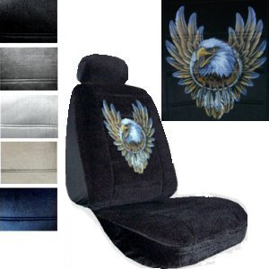 Seat Cover Connection Bald Eagle Dreamcatcher print 2 Low Back Bucket Car Truck SUV Seat Covers with 2 Head Rest Covers - Black (Two Eagles Bald)