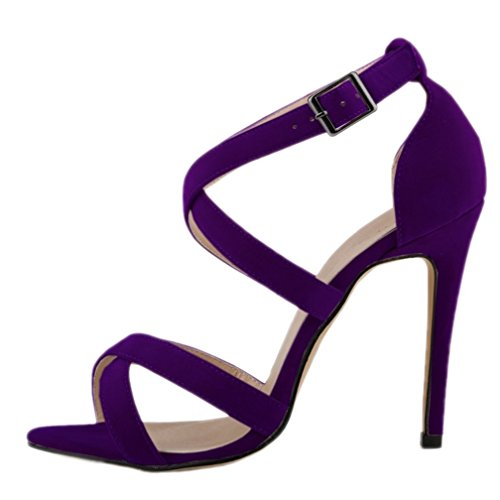 HooH Mujer Tacón alto Verano Sandalias Cruz Peep Toe Gladiator Zapatos de tacón Sandalias Morado