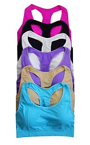Women 6 pack seamless sports bra (Plus (L/2XL), 271)