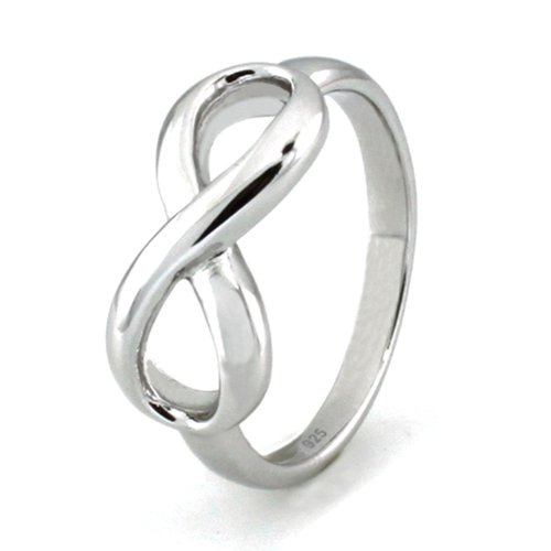 TIONEER Sterling Silver Iconic Classic Infinity Ring, Size ()