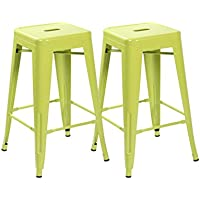 eurosports Tolix Style Chair 3001-MAG-2 Backless Metal Bar Stools Chair, Set of 2 Matte Green 26 inches