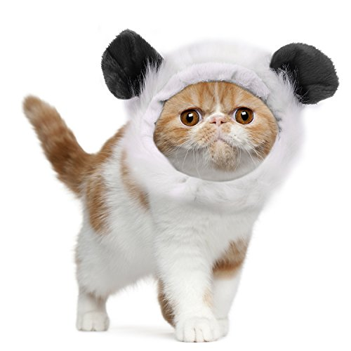 Pawaboo Pet Costume, Fancy Comfortable Fluffy Pet Dog Puppy Cat Panda Wig Hat Clothes Costume for Cosplay Halloween Christmas Festival Party Dressing Up, Black - Panda Costumes For Dog