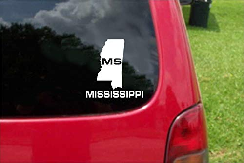 Set 2 (PCS) Mississippi MS State USA Outline Map Stickers Decals (7