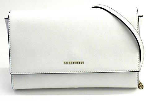 Borsa pochette con tracollina Coccinelle in vera pelle saffiano - Bianco