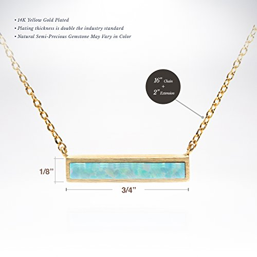 """PAVOI 14K Gold Plated Thin Bar Green/White Created Opal Necklace Pendant 16-18"""""""