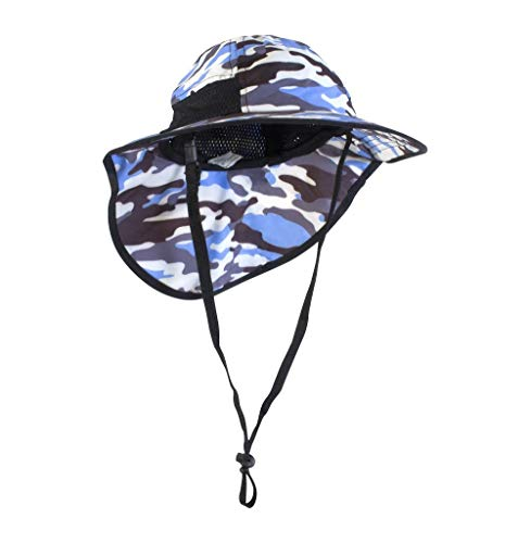 Veyo Kids - Noggins Sun Hat - UV Protection | Lightweight, Breathable | Safety Chin Strap (Medium: 3-8 Years, Blue Camo)