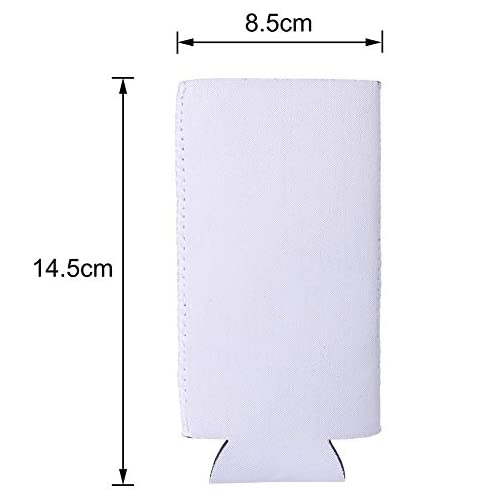 Sublimation Blanks Beer Can Sleeves - White Neoprene Cooler Covers Fit for Slim Energy Drink Beer Cans |