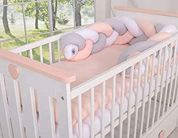 Tour de lit bébé Magic Loop blanc gris rose poudré ...