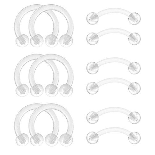 Earrin Earrings Jewelry - FECTAS Retainers Cartilage Helix Daith Tragus Earrins Nose Lip Eyebrow Rings Clear Bioflex 16G 5/16