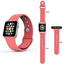 Apple Watch Band, Smarco Soft Silicone Replacement Watch Band for 42mm Apple Watch(Not for 38mm Version,3pcs Bands for 2 Lengths)(Coral)