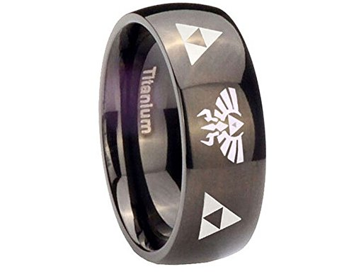 The Legend of Zelda Stainless Steel Triforce Costume Ring Black (11) ()