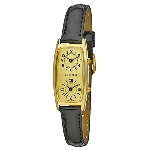 Gotham Women's Gold-Tone Dual Time Zone Leather Strap Watch # GWC15092GBK