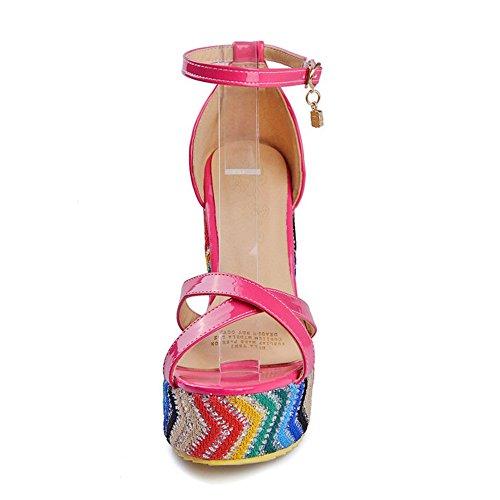 COOLCEPT Mujer Moda Al Tobillo Sandalias Punta Abierta Tacon de Cuna Zapatos Cherry Rojo