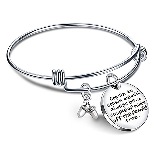 lauhonmin Cousin Bangle Bracelets for Women Men Boy Girl Cousin to Cousin Will Always be a Couple of Nuts Off Family Tree