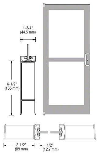 CRL-U.S. Aluminum Clear Anodized Single Door 36'' x 84'' 400 Medium Stile Latch on Right Offset Pivot With Panic Exit Device for Surface Mount Closer