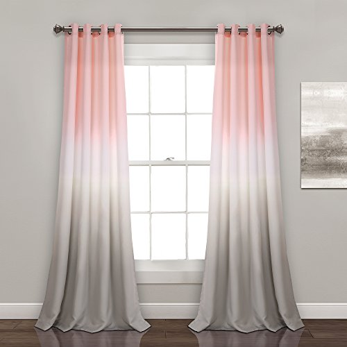 Lush Decor Umber Fiesta Curtains Room Darkening Window Panel Set for Living, Dining, Bedroom (Pair) 84 x 52 Blush and Gray