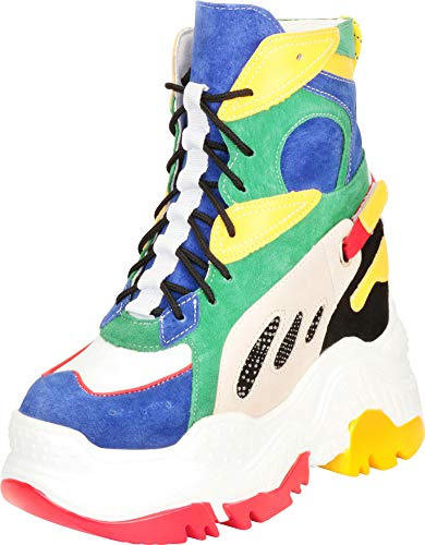 Wedge Chunky Boots - Cambridge Select Women's 90s Rave Hidden Wedge Extra High Chunky Platform Boot Fashion Sneaker (10 B(M) US, Multi)