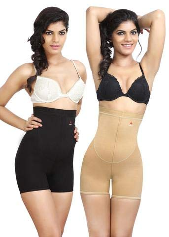 8cb2e44235 Adorna Combo of 2 High Waist Briefs - Black   Beige  Amazon.in  Clothing    Accessories