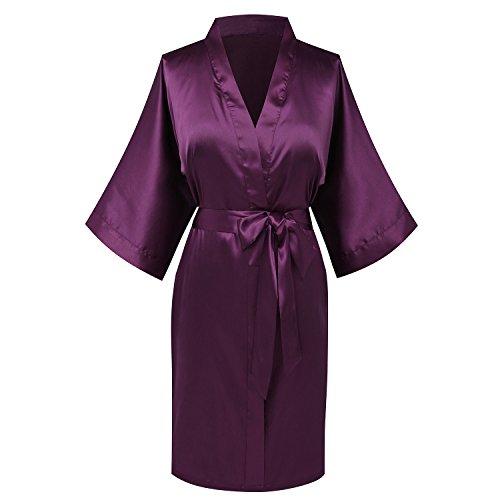 - Goodmansam Women's Simplicity Stlye Bridesmaid Wedding Party Kimono Robes, Short,Eggplant Purple4,XXX-Large