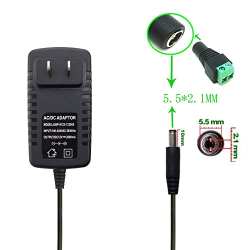 New DC 12V 2.0A Power Supply Transformers Adapter with Female Connector for LED Strip Light,LED Tape Light, LED Rigid Bar, 5.5mm x 2.1mm For Sale