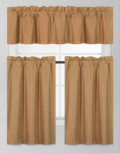 GorgeousHomeLinen (K3) 3 PC Kitchen Window Valance Tier Curtain Faux Silk Panels Solid Lined Thermal Blackout Drape Set (Gold)