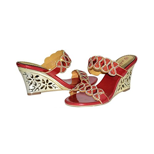 Meijili ,  Damen Peep Toes Rot