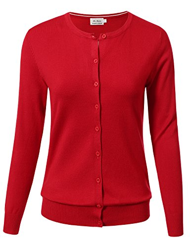 Women Button Down Long Sleeve Crewneck Soft Knit Cardigan Sweater M Red by ARC Studio