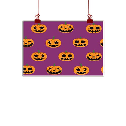 Mannwarehouse Simulation Oil Painting Seamless Halloween Pattern Illustration Decorative Monster Pumpkin on Purple Background Vector Decorative Painted Sofa Background Wall 24