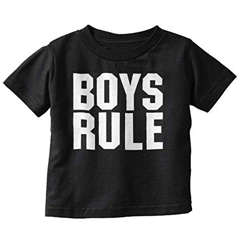 Brisco Brands Boys Rule Girls Drool Cute Newborn Son Baby Infant Toddler T Shirt Black