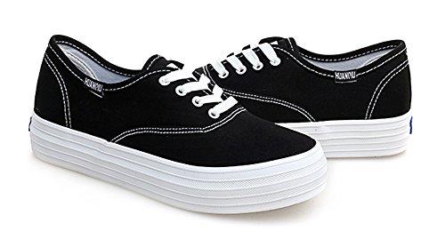 Aisun Donna Casual Punta Tonda Suola Spessa Piattaforma Lace Up Flats Sneakers Scarpe Di Tela Nere