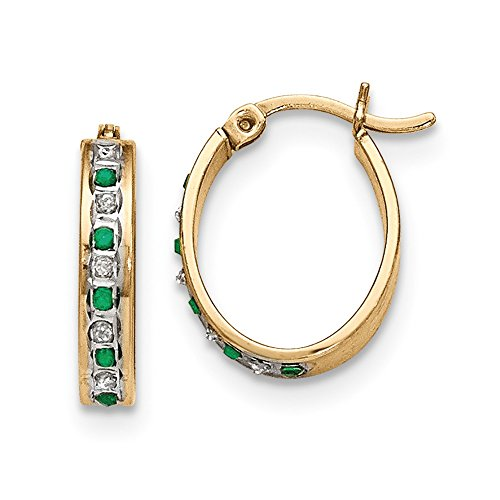 - 925 Sterling Silver Diamond Mystique Gold Plated Dia/emerald Oval Hoop Earrings Ear Hoops Set Fine Jewelry Gifts For Women For Her
