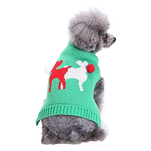 Futemo Christmas Pet Deer Sweater Xmas Winter Warm Jacket Supplies Clothes Outfits for Small Dog Cat Puppy Coats Apparels (M, Green)