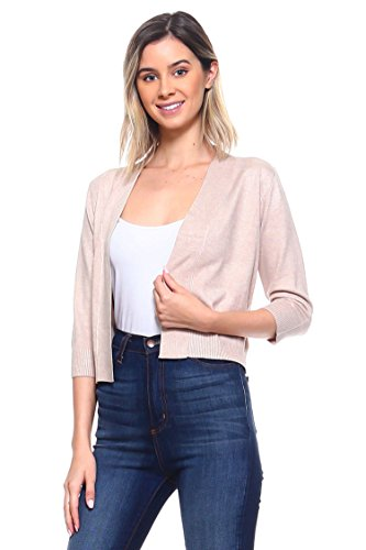 CIELO Women's Soft Solid Open Front 3/4 Sleeve Sweater Cardigan - http://coolthings.us