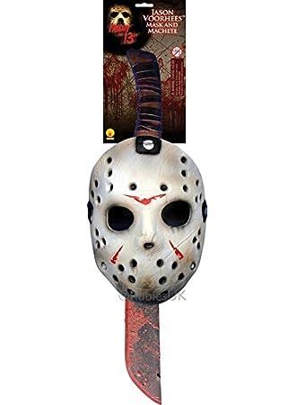 Máscara de Hockey de Jason Voorhees y conjunto de Machete