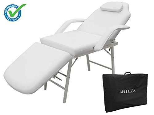 "Belleza 73"" Inches Large Portable Facial Massage Table Bed Chair White w/ Armrest & Carrying Case for Tattoo Parlor Spa Beauty Salon Home Therapist Barber 