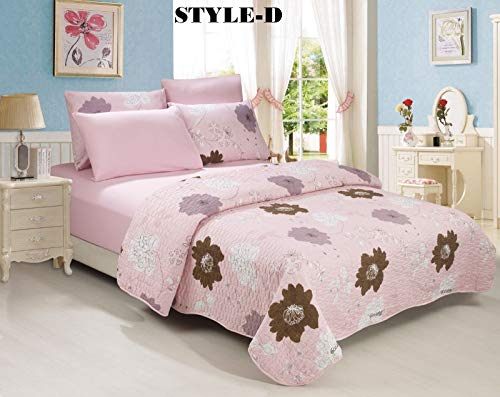 no!no! 6-Piece Bedding Quilt Bedspread Set w/Two Pillow Cases Shams Size Queen Style D from no!no!