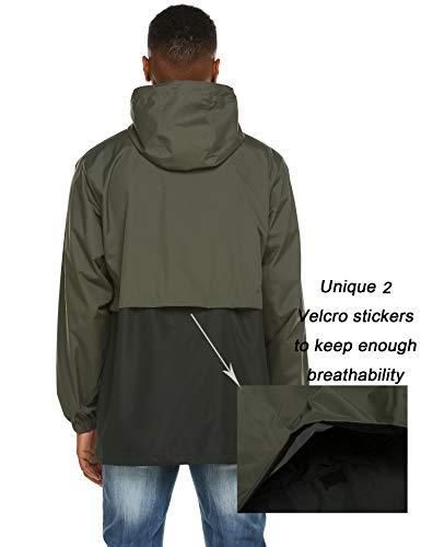 poriff Women's Rain Jacket Windbreaker Raincoats Waterproof Lightweight Outdoor Hooded Trenchcoats Army Green XXL
