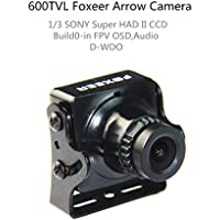 Crazepony Foxeer FPV Arrow Camera 600TVL 2.8mm Lens NTSC Sony Super Had II CCD IR Blocked Version 2 with OSD AUDIO Black for QAV Multicopter