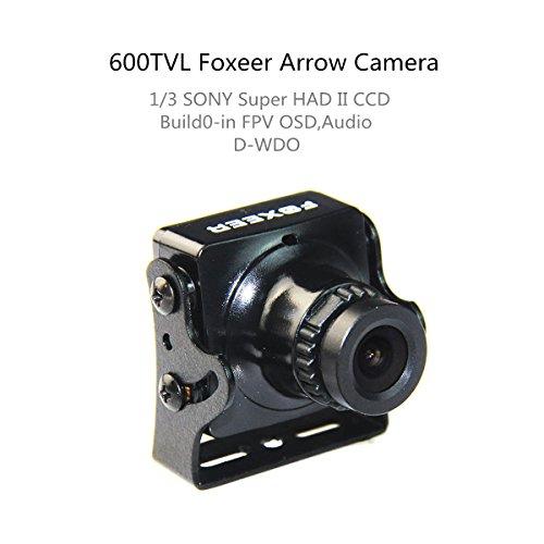 Crazepony Foxeer FPV Arrow Camera 600TVL 2.8mm Lens NTSC Sony Super Had II CCD IR Blocked Version 2 with OSD AUDIO Black for QAV Multicopter