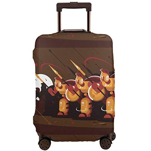 OTMBJFTE Spartans with Shields and Spears Washable Polyester Funny Double-Sided Printing Luggage Baggage Protector Travel Suitcase Cover Good Elasticity S-XL,Luggage Cover