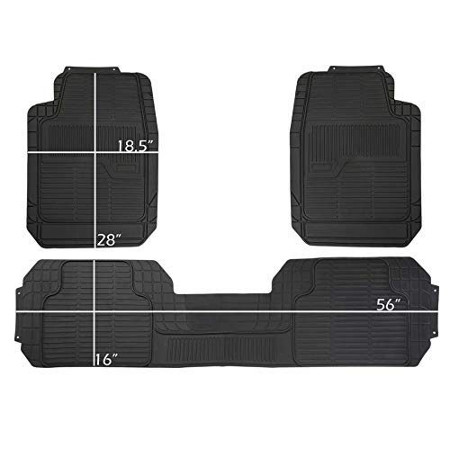 DriveComforts PIC AUTO Universal Rubber Floor Mats for Car, SUV, Van & Trucks (3piece 02) ()