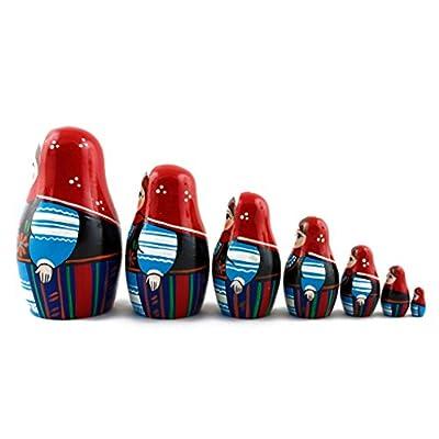 Matryoshka Polish National Dress Babushka Russian Nesting Wooden Stacking Doll 7 Pcs: Toys & Games