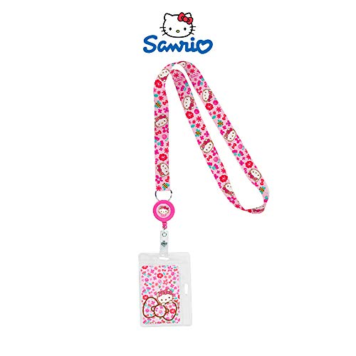 (Sanrio Hello Kitty Lanyard Reel ID Badge Holder : Flower Crown)