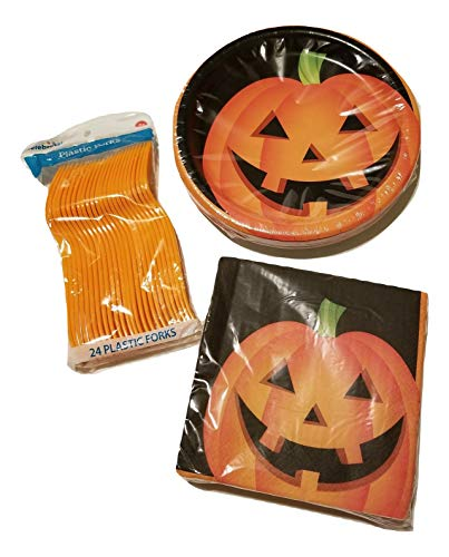 Celebrate Halloween Pumpkin Paper Plates,Napkins and Forks Party