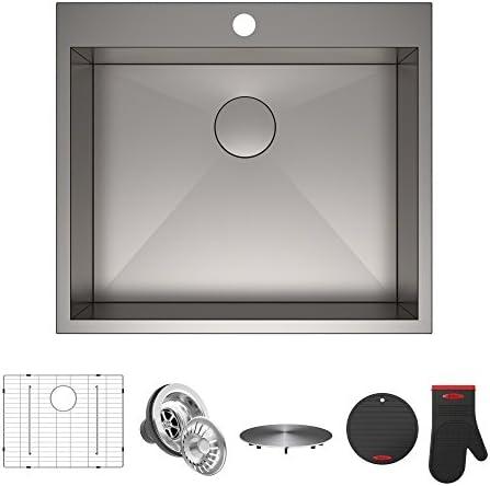 Kraus KP1TS25S-1 Pax Kitchen Sink Single Bowl, 25 Inch, 25 x 22 x 9 1 Hole