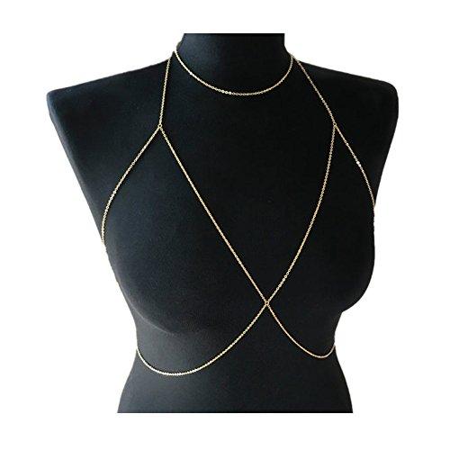 Chain Necklace Halter - Women's Halter Body Chain Bralette Jewelry Bikini Bra Necklace (Gold 1)
