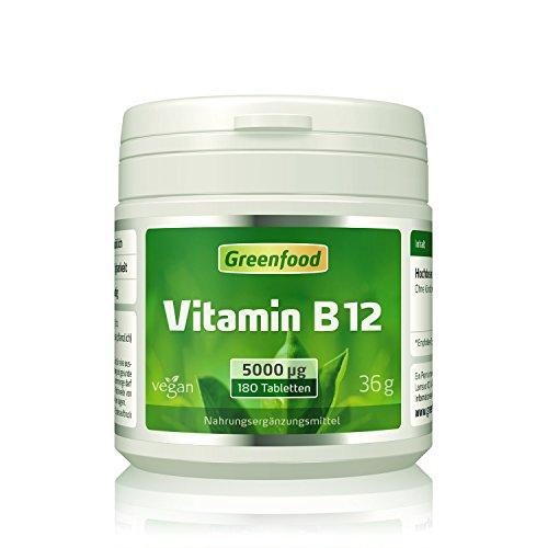Vitamin B12, 5000 mcg, 180 Tabletten, vegan - wichtig für Nervensystem und Denkvermögen, stimmungsaufhellend. OHNE Magnesiumstearat.