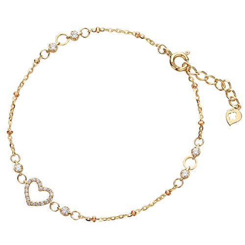 Solid 14K Yellow Gold Heart Shape Pendant Gold Bracelets for Women 6.90+0.80 inch by Carleen